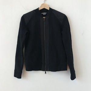 Vince black double zip moto style sweatshirt